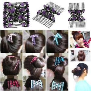 Magic-Double-Row-Hair-Comb-Acrylic-Beads-Elasticity-Clip-Hair-Combs-Hairband-NEW