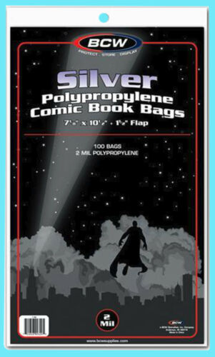 """100 BCW SILVER / REGULAR COMIC BOOK BAGS 7-1/8""""x10-1/2"""" Clear Plastic Archival"""