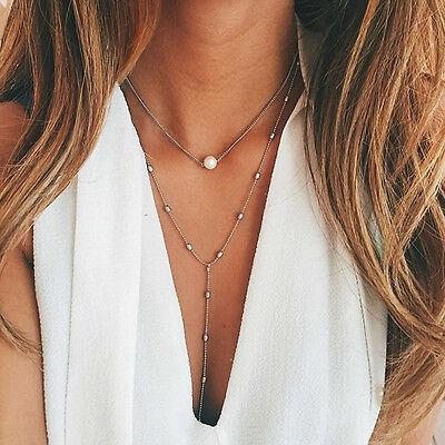 Fashion Women Pearl Bib Choker Pendant Charm Statement Chain Necklace Jewelry