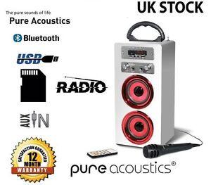 Pure-Acoustics-MCP-20-Portable-Karaoke-Machine-With-Mic-Bluetooth-Speaker-White