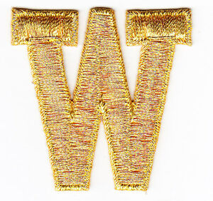 Letters Gold Metallic 1 3/4 Letter J Iron On Embroidered Applique