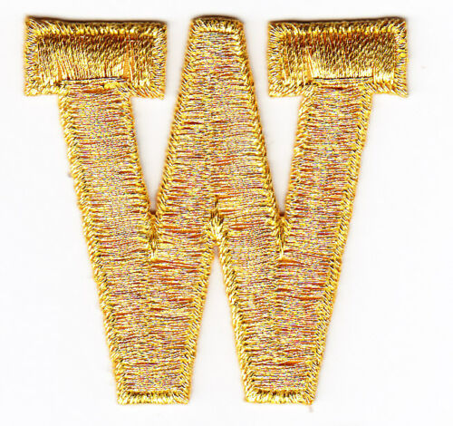"""Iron On Embroidered Applique LETTERS-GOLD METALLIC 1 3//4/"""" LETTER /""""W/"""""""