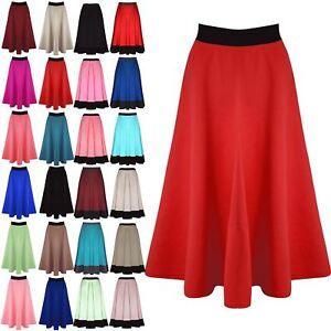 93d27a5e90 Womens Midi Skirt Ladies Mid Length Stretch Flared Skater Swing Long ...