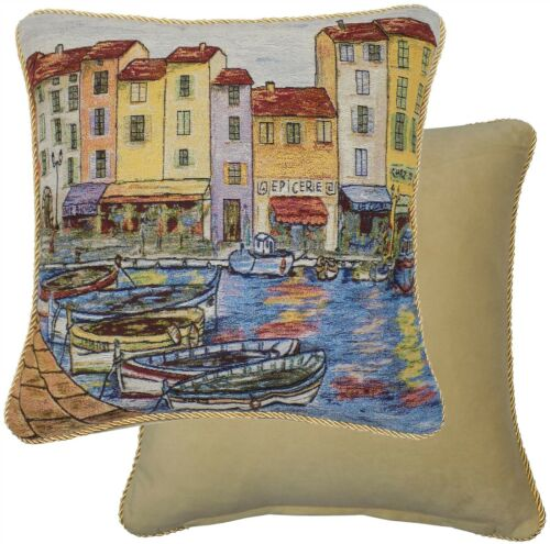 "TAPESTRY COTTON VELVET BOAT HARBOUR SEA THICK BLUE GOLD CUSHION COVER 18/"" 45CM"