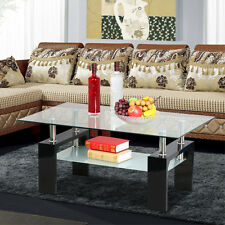 Glass Coffee Table Rectangular Shelf Chrome Black White Wood Living Room Modern
