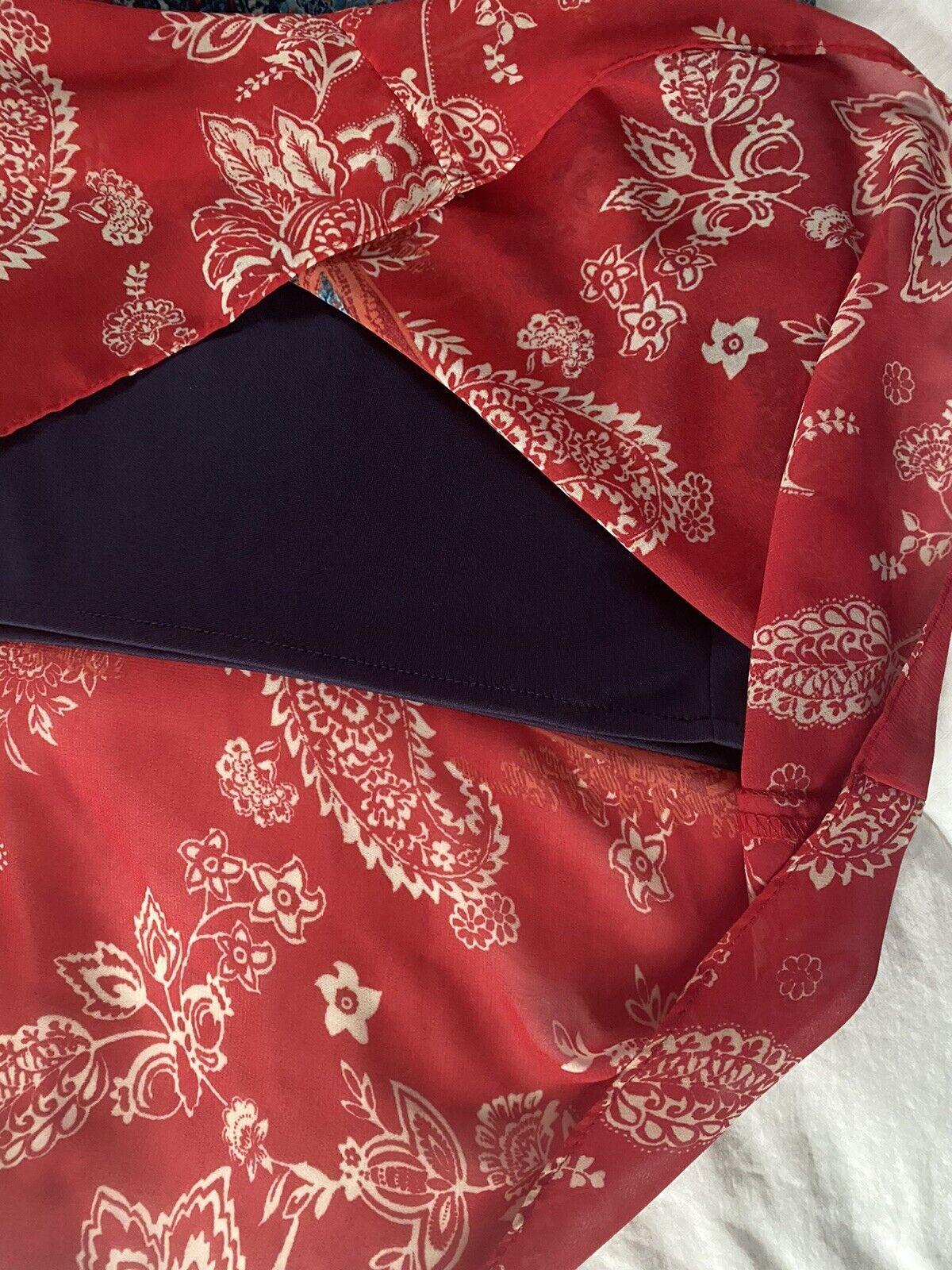 Cb Established 1962 Dress Sz 10 Red & Blue Sheer … - image 5