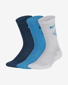 555e9ca51 3 Pair Nike Exploded Logo Dri Fit Cushioned Crew Socks Boys Girls ...