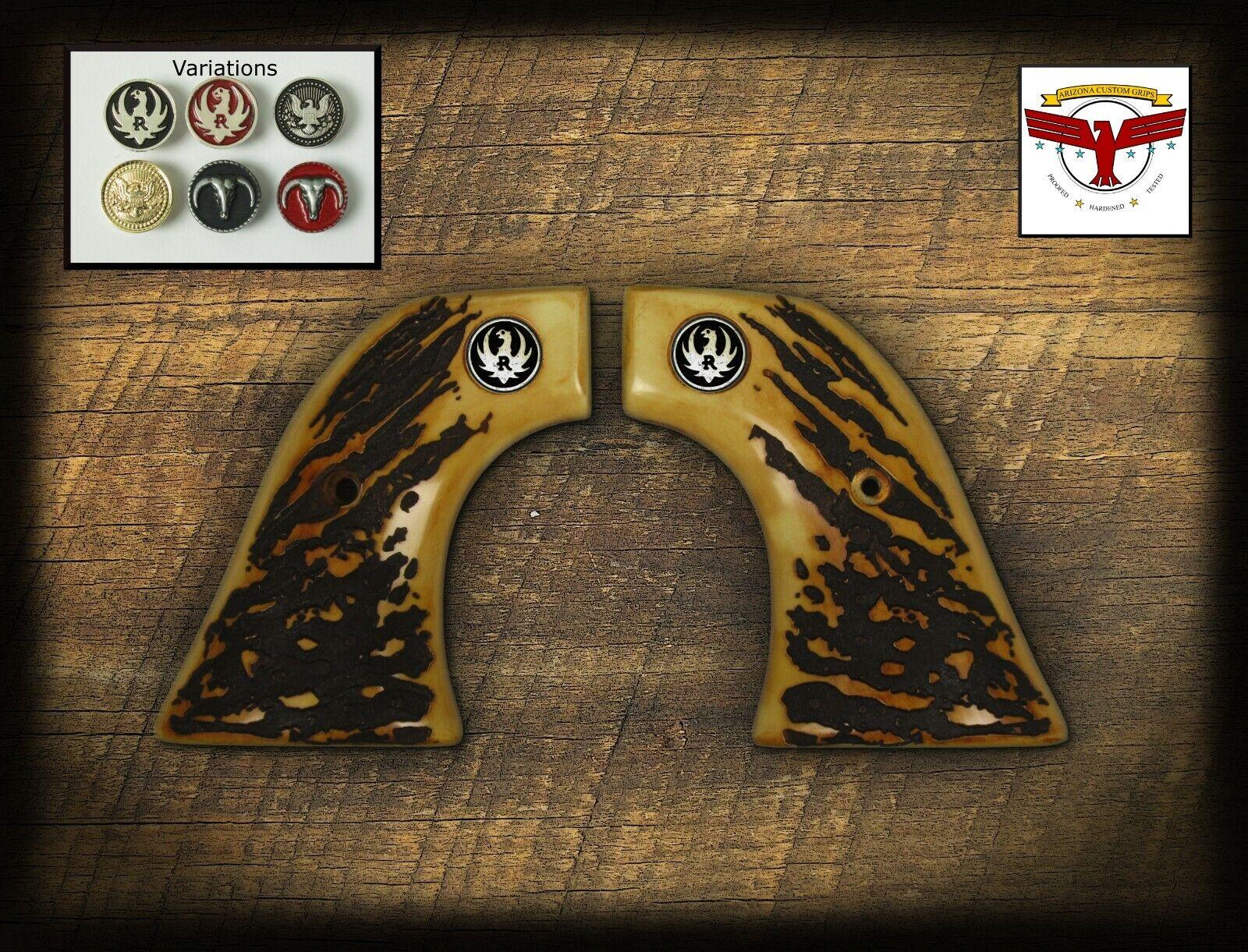 Checkered Floral Engraved Walnut Ruger Vaquero//Blackhawk XR3-Red Frame Grips