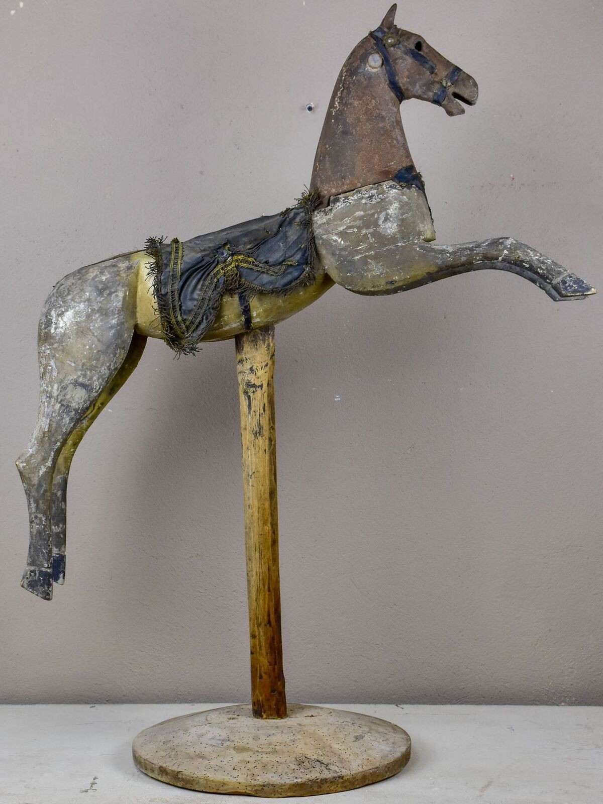Antique French toy horse mounted on on on a wooden stand 063de5