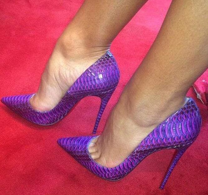 Sexy Mujer Taco Alto Puntera Puntiaguda Fiesta Tacones De Aguja Zapatos De Salón Club nocturno de piel de serpiente
