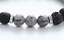 "thumbnail 2 - Black Lava Stone & Healing Gray Lace Jasper Silver Beaded Stretch Bracelet 7.5"""