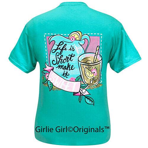Girlie Girl Originals Tees Life Is Short Scuba Blue Short Sleeve T-Shirt - 2291