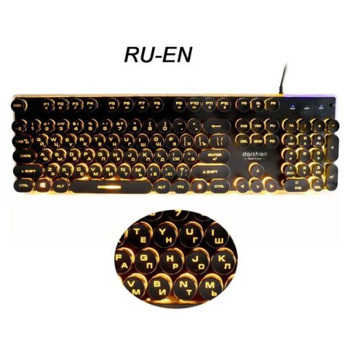 Gaming Keyboard Steampunk Retro Round//Square Key Cap USB Wired Glow Metal Panel