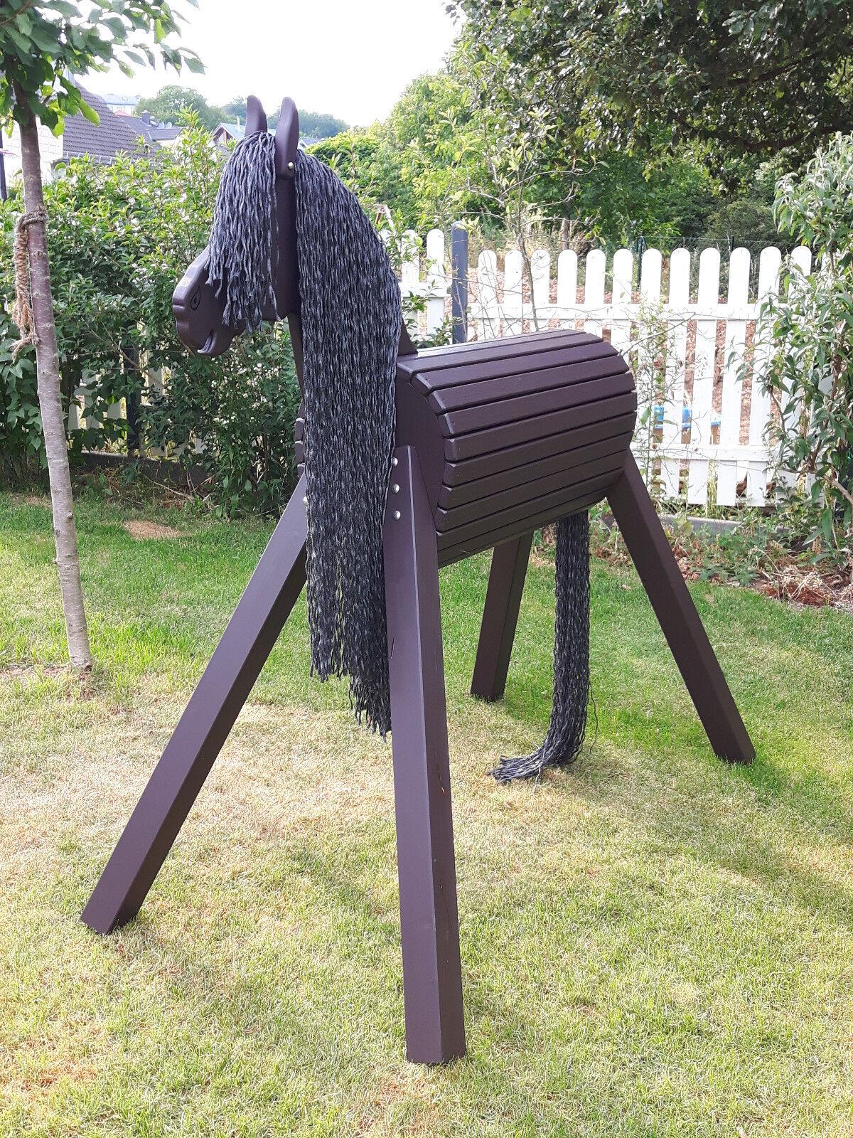 120cm Holzpferd Holzpony Voltigierpferd Spielpferd Pferd Pony mit Maul NEU