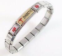 Diabetic Medical Bracelet Id Alert Italian Charm Bracelet Gold Tone