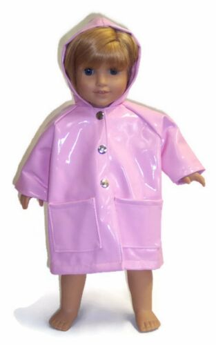 /& Umbrella made for 18 inch American Girl Doll Clothes Pink Rain Coat Boots