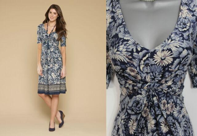 MONSOON Blue Verity Floral Border Print 3/4 Sleeve Flatter Casual Dress UK8 EU36