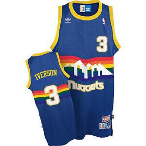 new arrival b48ae 20926 Details about Allen Iverson #3 Denver Nuggets Men's Blue Hardwood Classics  Throwback Jersey