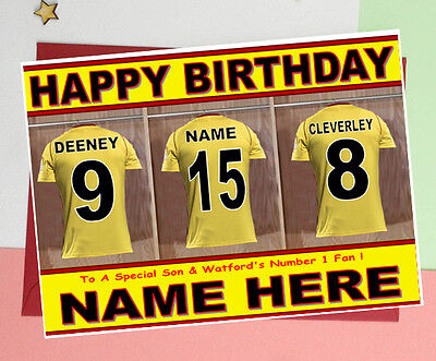 Yellow /& Red Shirt WATFORD FAN Unofficial PERSONALISED Football Birthday Card