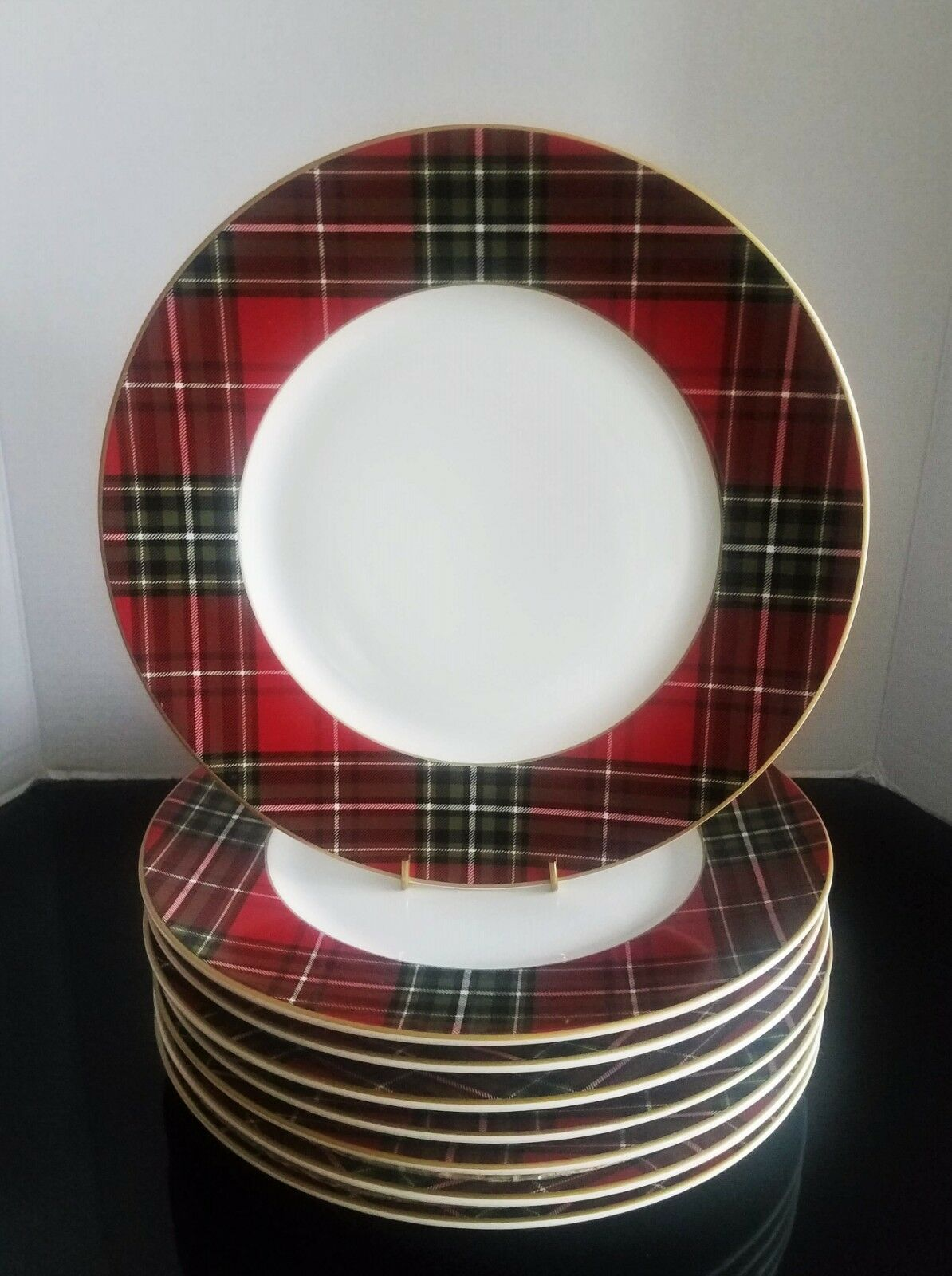 222 Fifth Wexford Plaid rouge Dinner Plate Set de 8 NEUF
