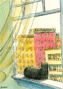 ACEO-archival-PRINT-In-a-city-window-animal-cat-pets-cityscape-landscape