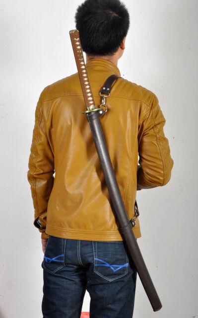 DAMASCUS 8192LAYERS BLADE LEATHER STRAPS SAYA JAPANESE REAL SWORD SAMURAI KATANA