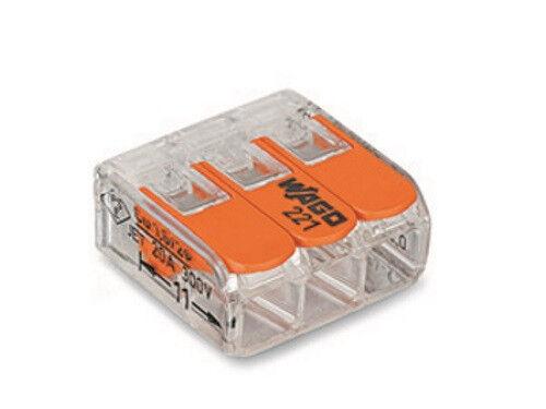 Wago 221-413 50x Verbindungsklemme 3-Leiter-Klemme mit Betätigungshebel