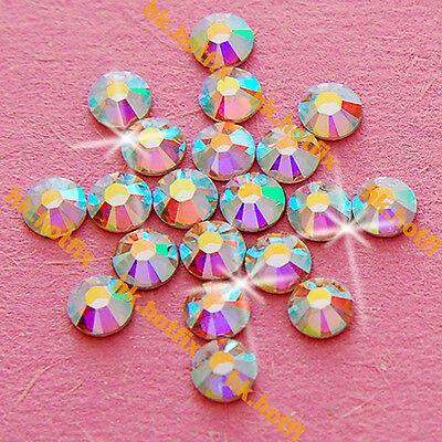 Authentic Swarovski AB Crystal ( NO Hotfix ) Flatback Glass Nail Art Rhinestones