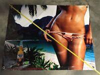 Corona Beer Bottle Cap Opener Banner Glass Poster Sign Girl Bikini Beach Bar
