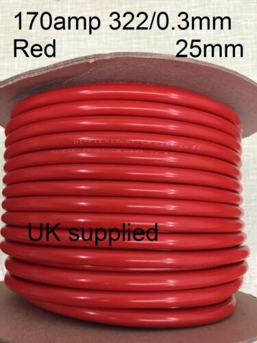 5m 25mm 170amp posative + Rojo Auto Coche Amplificador Personalizado Cable de arranque de la batería