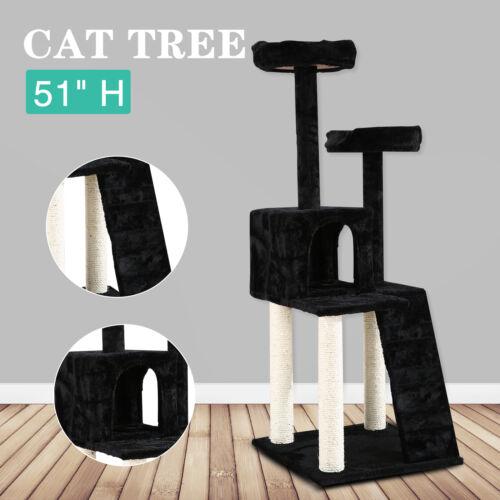 Black 51'' Almond Cat Tree Condo Furniture Kitten Scratching Post Pet Play House