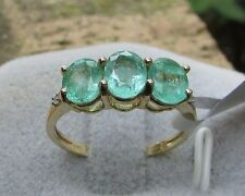 1.86 cts Genuine Siberian Emerald Trilogy Size 7 Ring 10k Gold Diamond Accents
