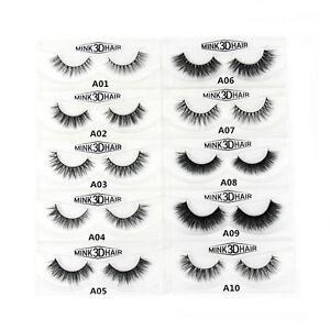 9612e47ed81 LASGOOS 100% Real Mink Fur 3D False Eyelashes Messy Natural Volume ...