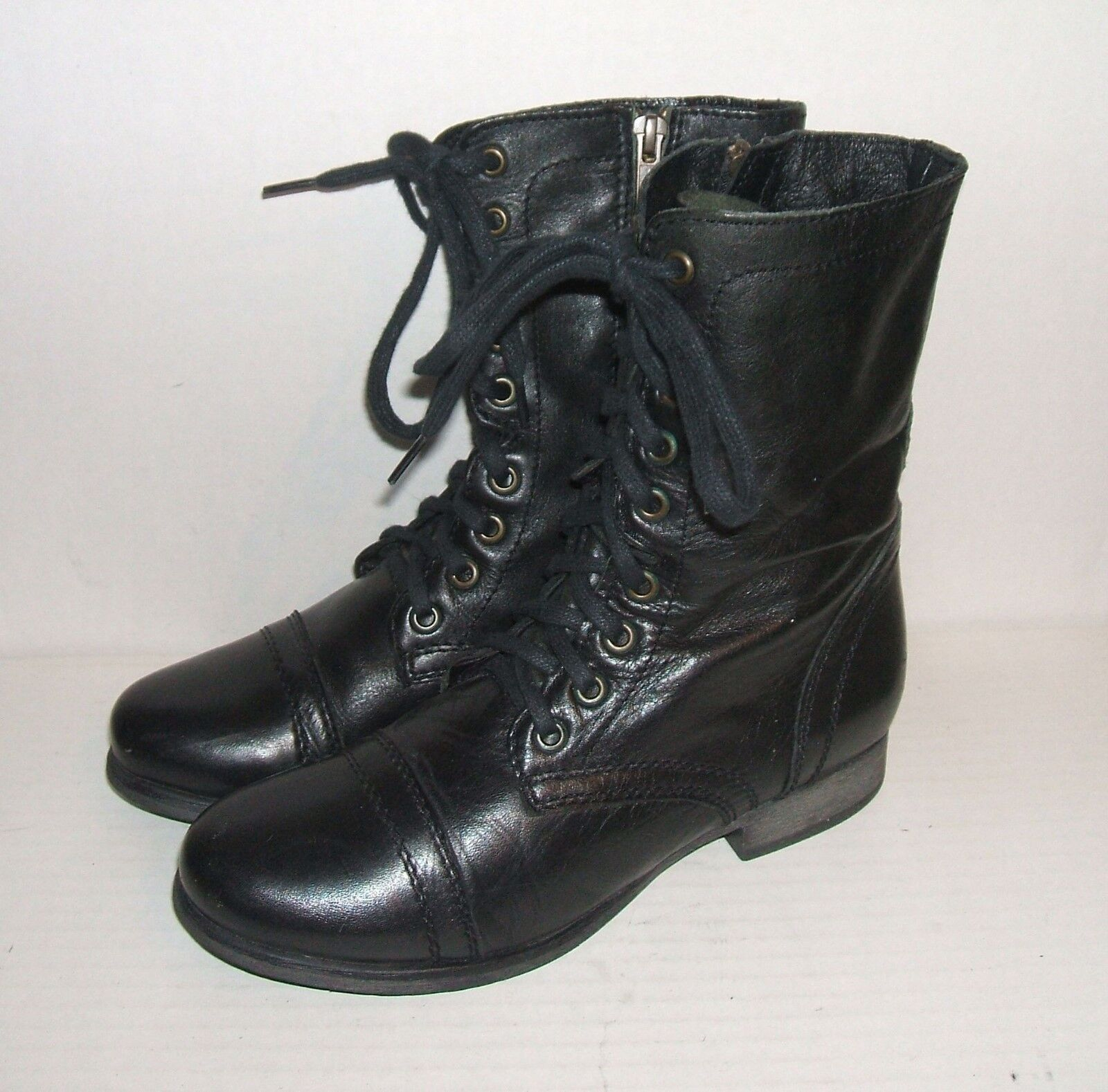 STEVE MADDEN  TROOPA  WOMEN'S BLACK LEATHER LACE-UP ZIPPER ANKLE BOOTS SIZE 7 B