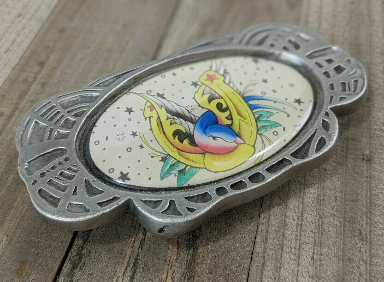 Tattooed Kingpin Rockabilly Silver Pewter Color Plate Belt Buckle Bird Horseshoe