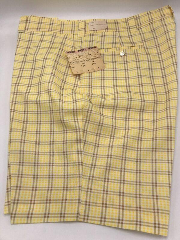 Vintage Nuova Con Etichetta 1970s Uomo Coosa Slacks Giallo Plaid Marrone Shorts