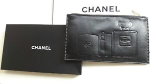 bdf92113aabf56 Image is loading Chanel-Parfums-Black-Leather-Cosmetic-Bag-Medium-size-