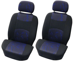 brand new car interior pair front seat blue and black single seat covers ebay. Black Bedroom Furniture Sets. Home Design Ideas