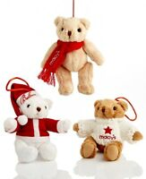 Macy's Ornament Collection Set Of 3 Christmas Gund Bears Free Shipping