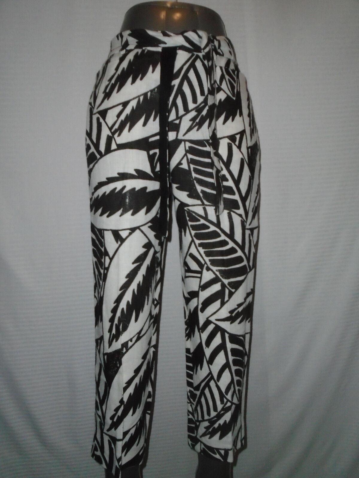 Max Mara Womans White & Brown Cropped Capris Pants  Size 4