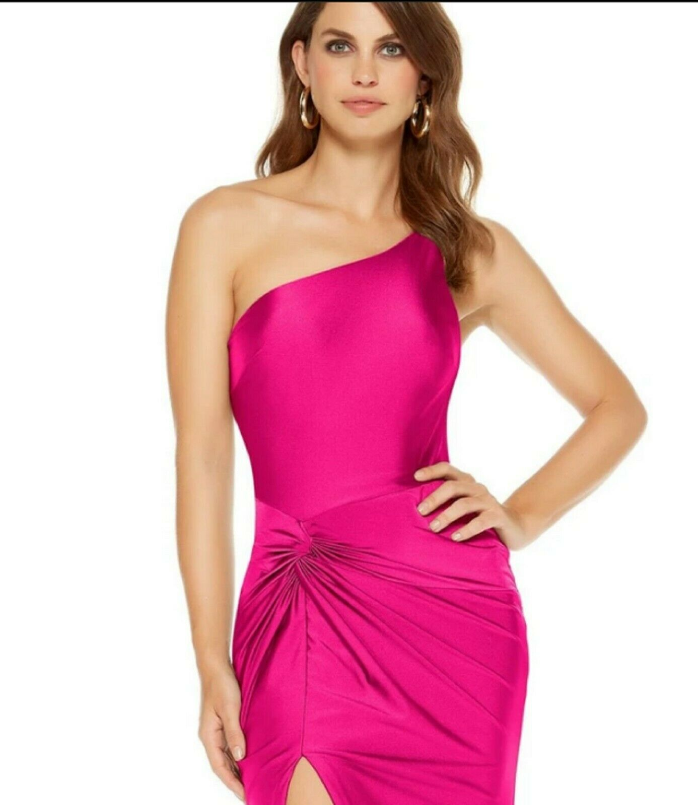 NWT Size 2 Hot Fuchsia Alyce 60768 jersey long formal PROM gown, one shoulder