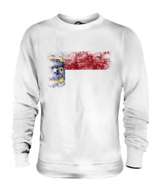 NORTH CAROLINA STATE DISTRESSED FLAG UNISEX SWEATER TOP NORTH CAROLINIAN SHIRT