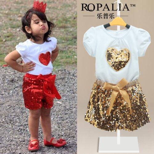 2015 Baby Kids Girls Heart Tops Shirt+Bead Pants Dress Outfits Set 2-11Y