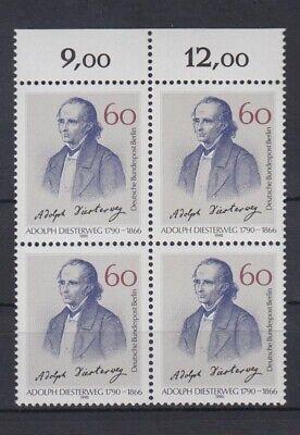 Unter Der Voraussetzung Berlin 879 4er Block Mit Oberrand Adolph Diesterweg 60 Pf Postfrisch