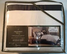 Fieldcrest Luxury 3 Piece Duvet Cover Set 100% COTTON King NEW Brown Border