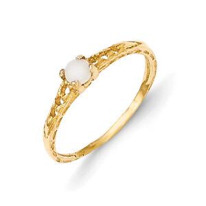 14K Yellow Gold 3mm Opal Birthstone Baby Ring Size 3 Madi ...