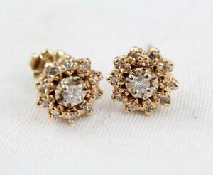 Image Is Loading 14k 14kt Yellow Gold Cer Studded Diamond Earrings