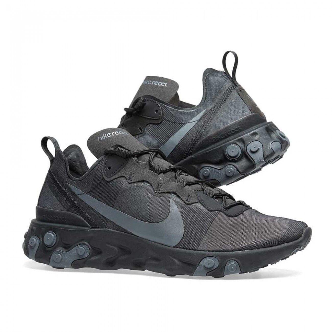 Nike React Element 55 Triple Black BQ6166-008 UK All Sizes  Brand New in Box