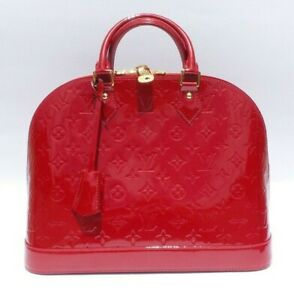 539e12be7042 LOUIS VUITTON Vernis Alma MM Pomme D Amour Red Patent Leather Tote ...