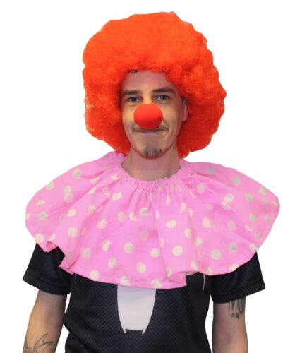 Polka Dot Clown Collar With Red Afro /& Nose Circus Fancy Dress Accessory Set